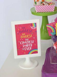 Trolls Birthday Party- The biggest, the loudest party, the craziest party ever! Trolls Birthday Party, Troll Party, 6th Birthday Parties, Third Birthday, Birthday Fun, Birthday Ideas, Princess Poppy Birthday Party, Rosalie, Bday Girl