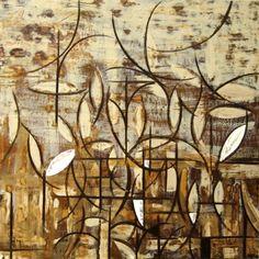 "Micki Buksar Cecil  ""Leaves""  2008  Encaustic  48""x48""x2""  $2500"