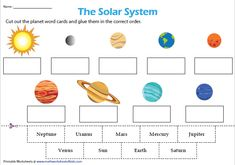 Planets Cut And Paste Worksheets Cut And Paste Worksheets, 1st Grade Worksheets, Science Worksheets, Worksheets For Kids, Solar System Worksheets, Solar System Activities, Solar System Crafts, Solar System For Kids, Space Solar System