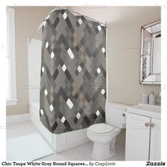 Chic Taupe White Gray Round Squares Pattern Shower Curtain. Ornate, elegant and funky hipster motif for the artistic interior designer, the artsy popular hip trendsetter, vintage mod retro, nouveau deco art style or abstract graphic digital geometric motif lover. Original, modern and whimsical bathroom decor accent.