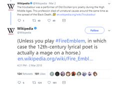 Wikipedia's official Twitter account gives a shout-out to Fire Emblem