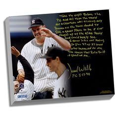 David Wells Facsimile Perfect Game Stretched 22x26 Story Canvas - This incredible story was hand-written by David Wells and explains his thoughts and insights on his perfect game. This version comes on a printed canvas which is then stretched and ready to hang on your wall. The actual canvas story is a facsimile and was not hand signed by the player it is a reprint of the original. This canvas measures 22x26 and is a Steiner Sports exclusive item. Gifts > Collectibles > Mlb Memorabilia…