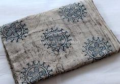 2.5 Yard indian Hand Block Print Naturel Cotton Design Dabu Print fabric #Handmade