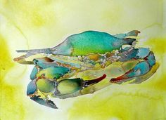 Summer is a great time to take your art kit to the beach! Crab watercolor, by Carol Carter.
