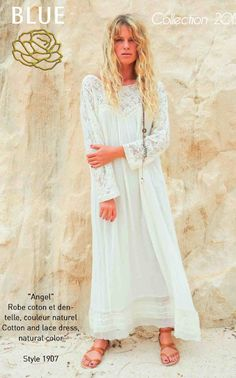 ANGEL cotton and lace dress Blue Hippy Summer 2015 Collection #boho #gypset #hippy #blue #southoffrance #handprinting #bohemian #vintage #bohochic #bohostyle #boholiving #bohemianstyle #gypsy #hippie #travel #beach #french #france #wanderlust
