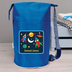 GREAT KIDS GIFT /& NAMED TOO PERSONALISED ROBOT GYM PE SWIMMING BAG