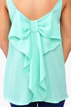 Mint Bow Tank ღ I love mint and bows. You guys know this and it so happens to be summer when you need tank tops. Take my advice, get this tank top. Look Fashion, Fashion Beauty, Fashion Outfits, Womens Fashion, Fashion Clothes, Mode Style, Style Me, Inspiration Mode, Mode Hijab