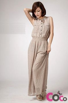 Beige Sleeveless Long Loose Leg Asian Fashionable Small Patterns Jumpsuit