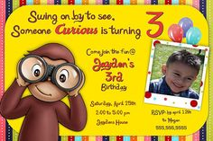 Curious George / monkey Birthday Invitation - Printable