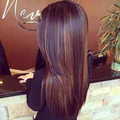 Long hair with angling from chin down and beveling of the last 5 inches, a long side swept bang. Mahogany brown with copper lights