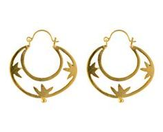 Gold Flower Cut Out Hoop Earrings