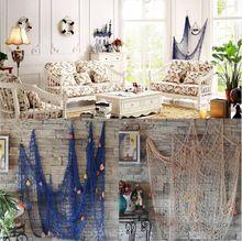Stredomorskom štýle bavlnená tkanina Námorné Fish Bar Námorná Decor Námorné Fabric Fishing Net Wall Decor Doprava zdarma (Čína (pevninská časť))