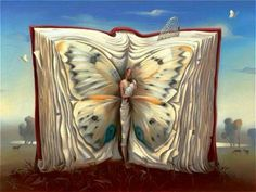 Vladimir Kush book of books painting for sale - Vladimir Kush book of books is handmade art reproduction; You can shop Vladimir Kush book of books painting on canvas or frame. Vladimir Kush, Magritte, Fantasy Kunst, Fantasy Art, Fantasy Books, Andre Breton, L'art Salvador Dali, Salvador Dali Paintings, Butterfly Books