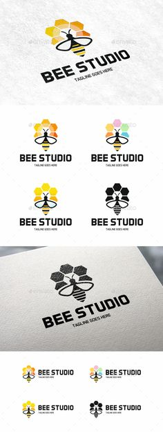 Bee by Logo vector. The files are fully editable and scalable without resolution loss.Logo specificationsEasy to change colo Logo Design Template, Logo Templates, Logo Bee, Bee Design, Brand Design, Honey Logo, Bee Drawing, Hexagon Logo, Logo Minimalista