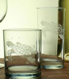 Hand-etched in the USA, this whimsical Sea Turtle motif on large 15 oz. cooler glasses is the perfect gift for any beach lover! (we love these!!!)