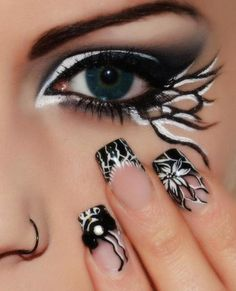Nails ~ This is too cool with matching eye make-up. Simple Eye Makeup, Eye Makeup Tips, Eyeshadow Makeup, Makeup Art, Beauty Makeup, Eyeshadow Palette, Fairy Makeup, Younique Eyeshadow, Yellow Eyeshadow