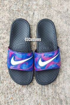 Galaxy Nike Slides Available on the Website!   Make sure you're following on Instagram, Twitter, YouTube, & Facebook! @93customs  www.93customs.com