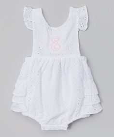Look at this White Eyelet Initial Bubble Bodysuit - Infant