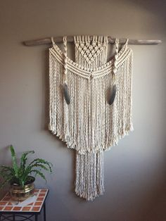 42 X Large Macramé Wall Hanging OOAK Driftwood Feathers