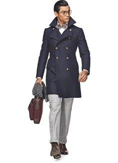 Suit Supply navy men's double-breasted coat