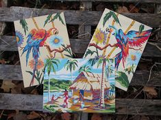 Vintage Paint by Number Tropical Complete Set of 3 Craftint Mid Century 1956 Atomic PBN Unframed Paintings 1950s AtomicPutz.com