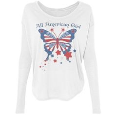 All American Girl Butterfly Long Sleeve Tee All American Girl, Red White Blue, Hoodies, Sweatshirts, Fourth Of July, Cyber, Mall, Online Shopping, Long Sleeve Tees