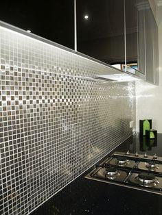 metallic tiles, kitchen splasback