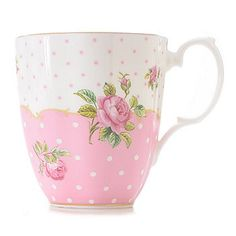 New Country Roses Cheeky Pink 14 oz Bone China Gold Plated Mug Shabby Chic Pink, Vintage Shabby Chic, Shabby Chic Homes, Porcelain Mugs, Painted Porcelain, China Porcelain, Coffee Cups And Saucers, Cup And Saucer, Pink Teapot