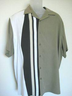 b1d51430 Nat Nast Luxury Original Silk Shirt Size L Hawaiian Casual Camp Green Tan  Black
