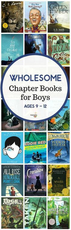 Wholesome Middle Grade Chapter Books for Boys Wholesome Middle Grade Chapter Books for Boys You asked for it. Here it is -- a wholesome middle grade chapter book list for boys ages 9 - 12 with nice (not rude) main characters. Good Books, Books To Read, My Books, Kids Reading, Teaching Reading, Reading Books, Reading Lists, Reading Time, Teaching Ideas