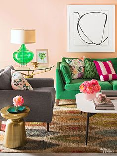 pink walls, green sofa, great patterns and textures like this with them at green couch! Peach Living Rooms, Living Room Green, Living Room Modern, My Living Room, Home And Living, Living Room Decor, Peach Walls, Pink Walls, Green Walls