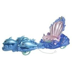 Your Ariel doll will love riding in this special chariot with handsome Prince Eric. The chariot has a shell-shaped seat large enough for Ariel and Prince Eric to sit side-by-side, and when you push the chariot, it looks like it's being pulled by three large swimming dolphins.