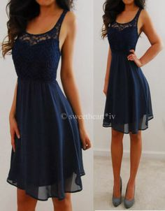 RUE 21 Navy Blue Lace Chiffon Flowy Forever Elegant Mini Dress M NWT