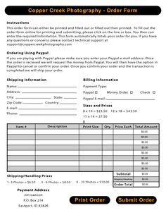 Attractive Sample Photography Order Forms | Photography Order Forms   PDF
