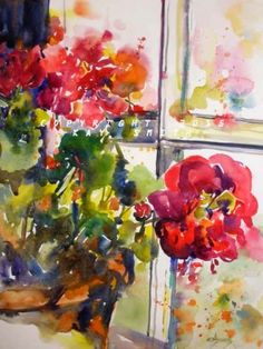 Sunny Window Red Geraniums, painting by artist Kay Smith