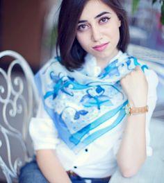 Blue flowers hand painted silk scarf . Flowers by ArmeniaOnSilk, $70.00