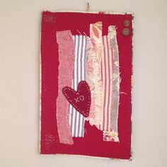 Textile Art Collage - Abstract heart piece - wall hanging by judithadesigns09 on Etsy