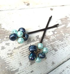 Blue pearl hair clips boho hair accessory beach by crushedcameo