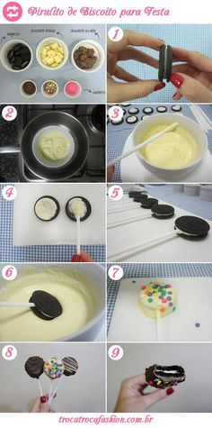 How to make cookie lollipop step by step!- Como fazer pirulito de bolacha passo a passo! – Montando Minha Festa How to make cookie lollipop step by step! – Riding My Party - Oreo Pops, Marshmallow Pops, Snacks Für Party, Party Favors, How To Make Cookies, Sweet 16, Cake Pops, Sweet Treats, Food And Drink