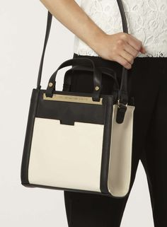 Black and bone pocket tote bag