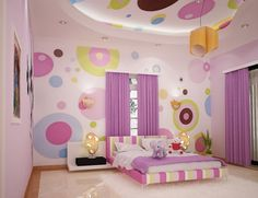 Fun & colorful kids bedroom. Concentric circles. Not sure I would do this, but I really like it and think my girls would love it too