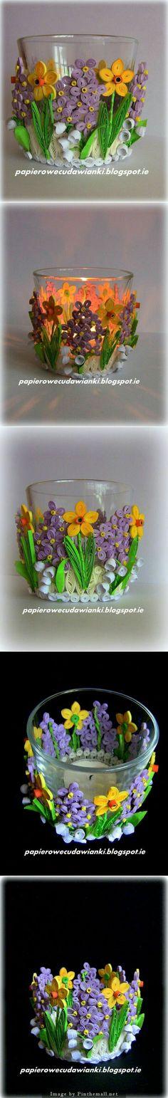 Картины стаканчики квиллинг цветы ?