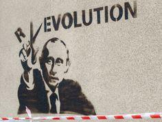 'R ✂ Evolution', Putin Street Art, Graffiti Art, Social Commentary Art.
