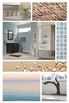 Combine soft, natural tones to create a space that has you feeling like you're at the beach, even when you're miles away. Natural Bathroom, Delta Faucets, Modern Coastal, New Trends, Modern Design, Mirror, Bathrooms, Inspired, Space