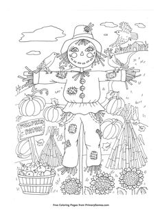 Fall Coloring Page Pumpkin Patch Scarecrow