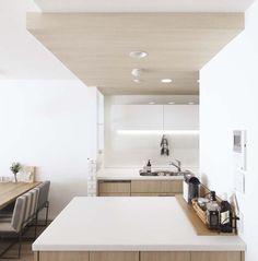 キッチン、カウンター、収納、引き出し、パネル状、天井、プラスエム、+Marchitects