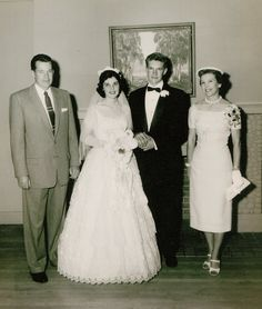 1956 newlyweds Mary Ella and Jim with Jim's parents