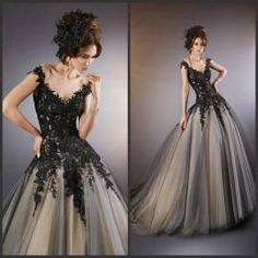 Wedding Dresses With Color 2015 Custom Made Sheer Black Wedding Dresses With Illusion Neckline Vintage Gothic Beaded Appliques/Lace Brush Train Wedding Dresses With Ca Wedding Gowns Pictures From Ebelz005, $188.49  Dhgate.Com