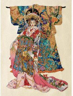 kimono geisha cross stitch