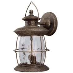 Shop Portfolio 16-7/8-in Antique Pewter Outdoor Wall Light at Lowes.com